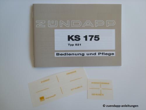 Zündapp Bedienungsanleitung KS 175 + orig. Aufkleber ...